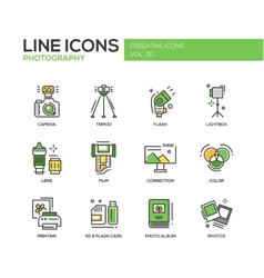 Photography line design icons set vector