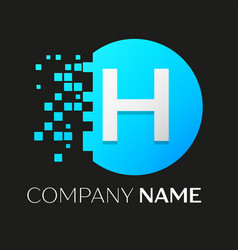 Realistic letter h logo in colorful circle vector