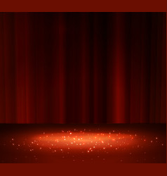 Red curtain with a spotlight vector