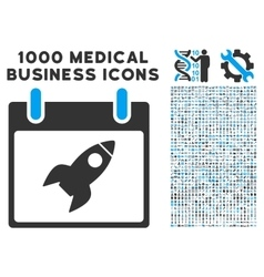 Rocket calendar day icon with 1000 medical vector