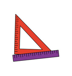 Ruler and triangle ruler measure geometry elements vector