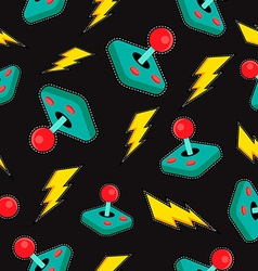 Seamless background with retro video game icons vector image