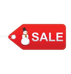 Snowman with sale label vector image