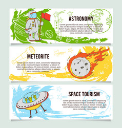Space theme banners with flat astronomic symbols vector image
