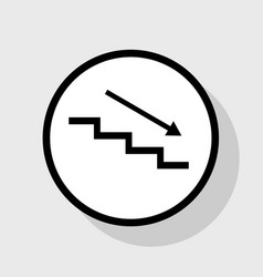 Stair down with arrow flat black icon in vector