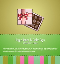 With spring and chocolate box vector