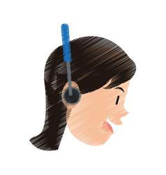 woman using headphones icon image vector image