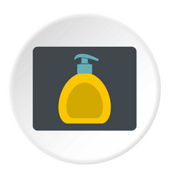 Yellow liquid soap bottle icon circle vector