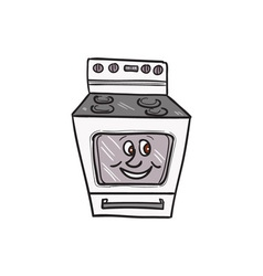Oven smiley face cartoon vector