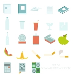 Set of colour garbage sign icons vector image