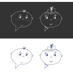 Hand drawn faces boy and girl speech bubble like vector