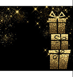 Christmas background with golden gifts vector image