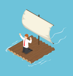 Isometric businessman stranded on wooden raft vector