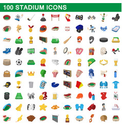 100 stadium icons set cartoon style vector image