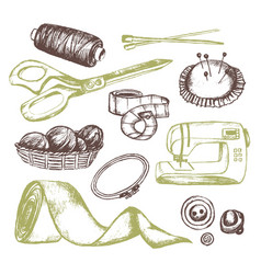 Sewing accessories - vintage vector