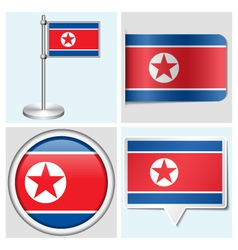North Korea flag - sticker button label vector image
