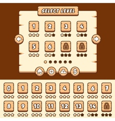 Wooden level selection game asset vector