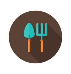 Gardening fork and trowel flat icon vector