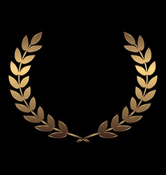 Gold award wreaths laurel on black background vector