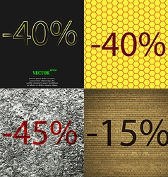 40 45 15 icon set of percent discount on abstract vector