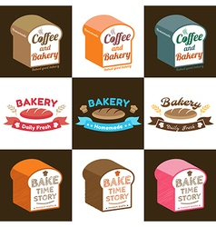 Set of loaf bread bakery badge label sticker vector
