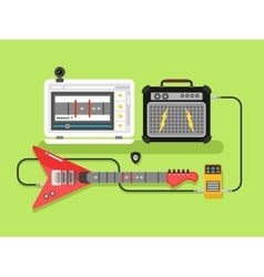 Learning guitar online vector