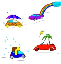 Set of seasonal cars vector