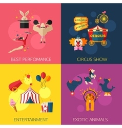 Circus performance entertainment exotic animals vector