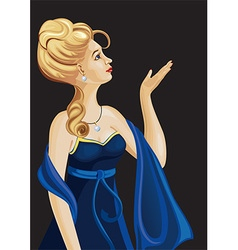 Girl in a blue ball gown looking up into the sky vector