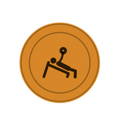amber circular frame of man with training vector image