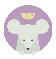 Animal set portrait in flat graphics - mouse vector
