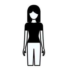 Black silhouette thick contour of faceless full vector