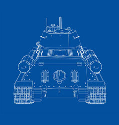 blueprint of realistic tank vector image