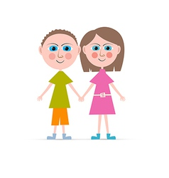 Boy and Girl Isolated on white Background vector image vector image