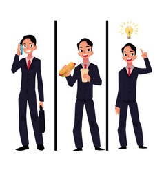 Businessman manager talking by phone eating vector
