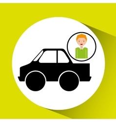Cartoon boy icon pickup truck icon design vector