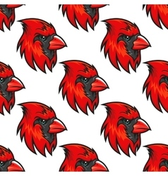 Cartoon cardinal birds seamless pattern vector image vector image