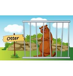 Cartoon zoo otter vector