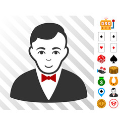 Croupier manager icon with bonus vector