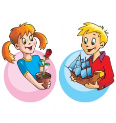 girl and boy with gifts vector image vector image