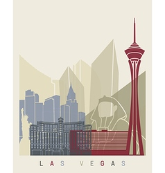 Las vegas skyline poster vector