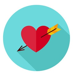 Love heart pierced with arrow circle icon vector