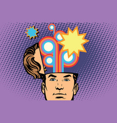 Man with an open head festival fireworks carnival vector