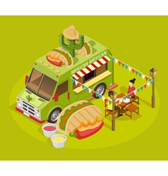 Mexican food truck isometric advertisement poster vector
