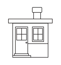 Monochrome silhouette of small house with chimney vector