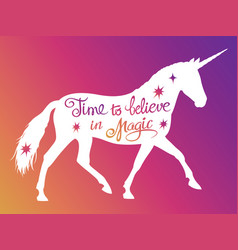 mythical rebellious unicorn silhouette vector image vector image