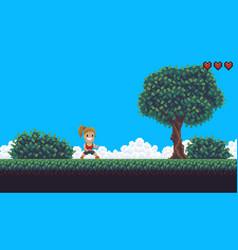 Pixel game background vector