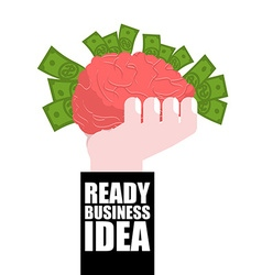 Ready business idea business solutions brain in vector