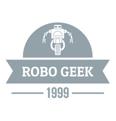 Robotic geek logo simple gray style vector