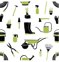 seamless pattern with black and green gardening vector image vector image